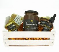 wooden crate filled with honey pine-erica,propolis trincture, propolis, beeswax salve,olive oil soap.