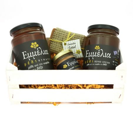 wooden crate filled with honey pine-erica,honey thyme,beeswax salve,olive oil soap.
