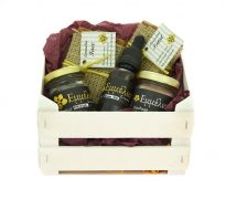 wooden crate filled with 2 olive oil soaps,beeswax salve, propolis ans propolis trincture.